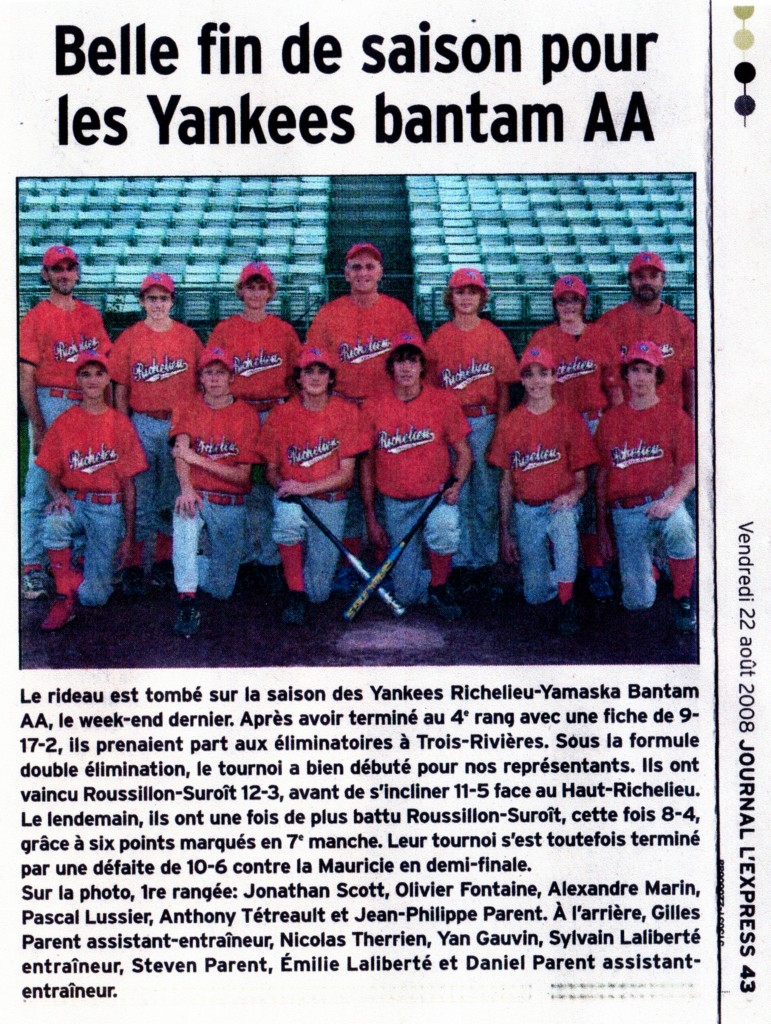 2008 - Bantam AA Mineur - Article de journal